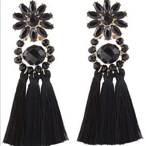 Black Flower Bohemian Statement Tassel Earrings
